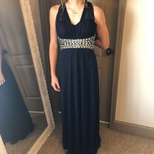 My Michelle Crystal Embellished Navy Gown